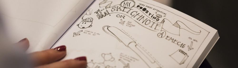 Gør-det-selv-sketchinote af Mie Nørgaard i konferenceprogram