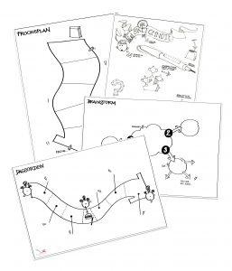 Eksempler på skabeloner som du kan bruge til at vise en simpel proces eller notere tanker ned i løbet af et møde/en præsentation